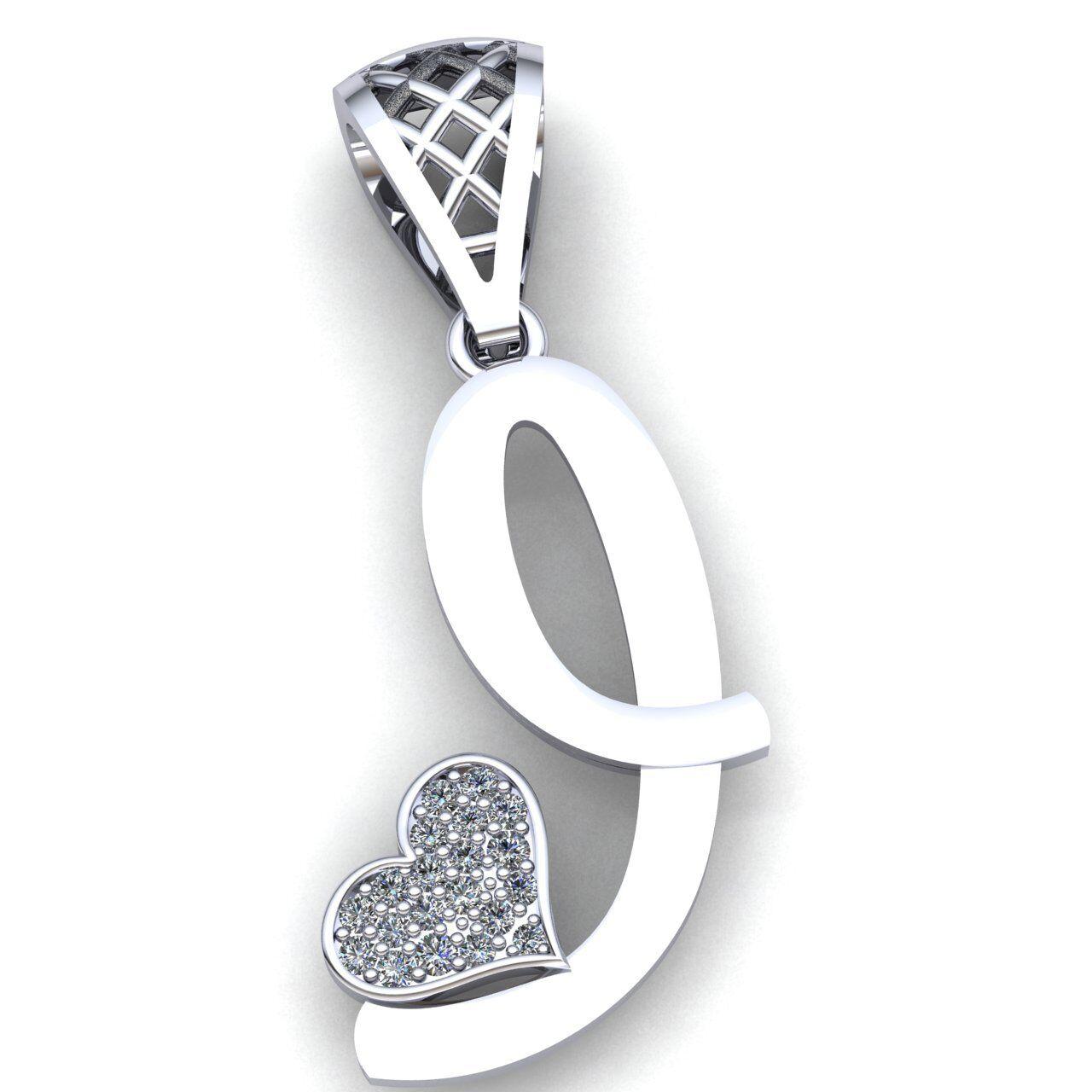 Genuine 1ctw Round Cut Diamond Ladies Alphabet Initial 'I' Pendant 14K gold