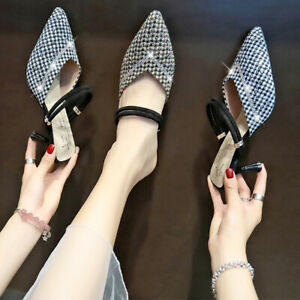 Womens-Ladies-Pointed-Toe-Mules-Mid-Heels-Slingback-Sandals-Diamante-Smart-Shoes