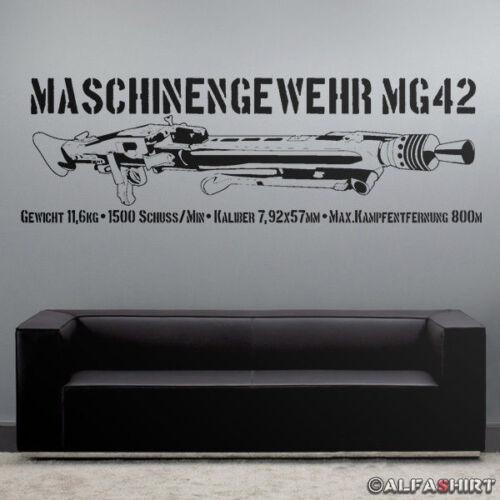 Mg42 con datos ametralladora 120x38cm-murales en negro #7645