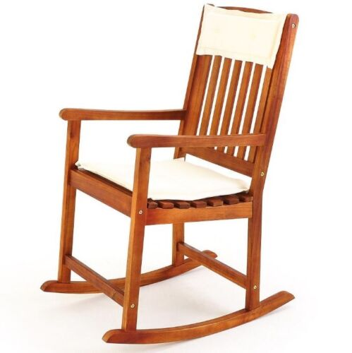 Rocking Deck Chair Traditional Wooden Nursing Solid Wood Patio Garden Armchair