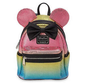 DISNEY-LOUNGEFLY-MINNIE-MOUSE-PINK-SEQUINED-RAINBOW-BACKPACK-W-BOW-NWT