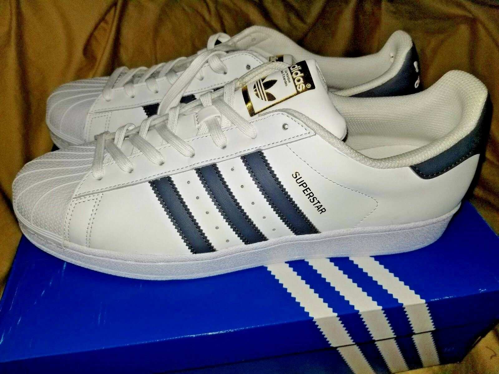 Adidas original  Superstar white  with grey stripes mens  sneakers size 13