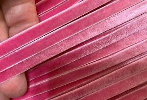 """Vintage 1/4"""" Velvet Ribbon Carnation Pink 3yds"""
