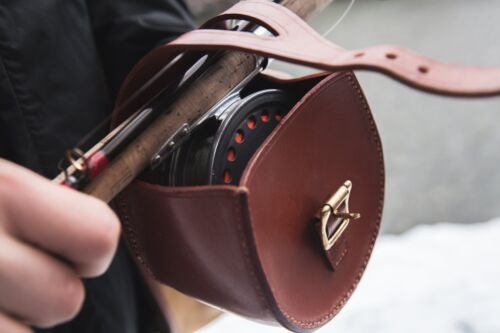 CLASSIC ROD-ON-REEL BLOCK LEATHER PROTECTIVE CASE FOR EXPENSIVE REELS
