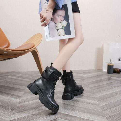 LADIES WOMENS ANKLE BLOCK CHUNKY PLATFORM HEEL GOTH PUNK POCKET SHOES BOOTS