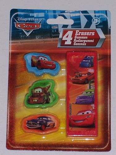 DISNEY CARS ERASERS//RUBBERS 4 PACK COLLECTABLES
