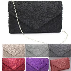 Vintage-Women-039-s-Girl-Satin-Lace-Clutch-Bag-Evening-Party-Bag-Wedding-Handbag
