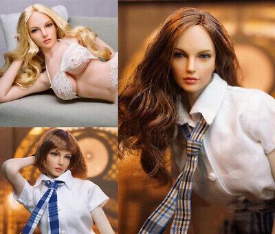SUPER DUCK 1//6 SDH005B Blonde Hair Female Head Carved PVC Head Sculpt Model