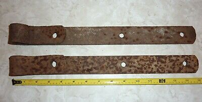 """Antique Hand Forged Iron Barn Door Strap Hinges 17"""" Long x 1.5 in Pair"""