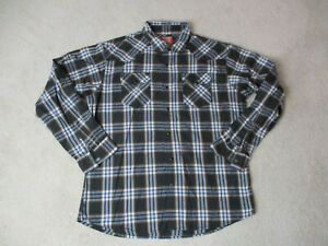 Wrangler-Pearl-Snap-Shirt-Adult-Extra-Large-Brown-Blue-Plaid-Western-Cowboy-Mens