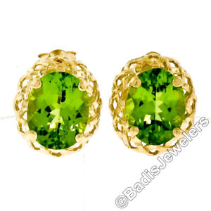 ccbced53d2429 Details about 14K Yellow Gold 4.0ctw Oval Cut Peridot Stud Earrings Puffed  Open Work Baskets