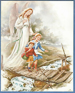 Catholic-Print-Picture-Guardian-Angel-w-boy-and-girl-on-bridge-8x10-034-from-Italy