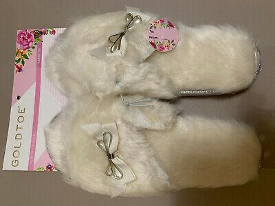 GOLDTOE Women Slippers Memory Foam Indoor Outdoor Faux Fur Pink Soft Breathable