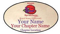 S3 Red Hat Society Personalized Name Badge W/ Premium Magnet Fastener On Back