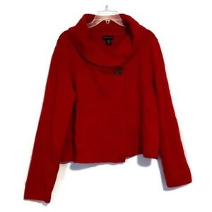 Adrienne-Vittadini-Size-XL-Red-Wool-Blend-Sweater-Shawl-Collar-Long-Sleeves