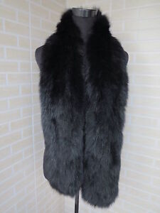 1 Braid Genuine fox fur scarf / collar / wrap black shi