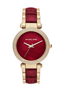 bd7f4a2fdb3 Michael Kors MK6427 Parker Gold-tone and Garnet Acetate Three-hand Watch