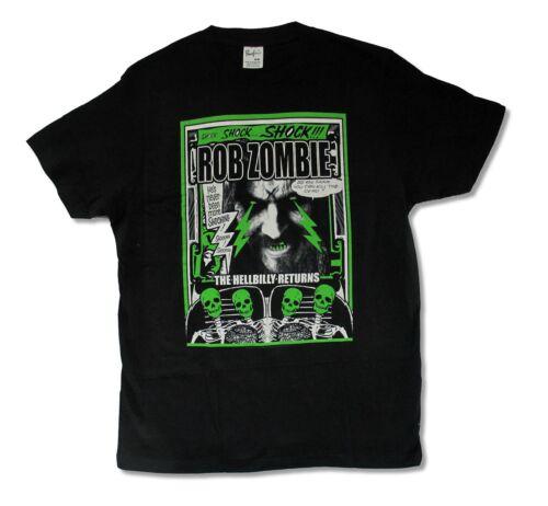Rob Zombie Hellbilly Returns Shocking Mens Black T Shirt Metal Band Music