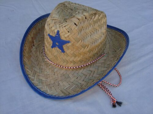 Infant COWBOY// COWGIRL Hat Straw With BLUE Trim Sheriff Badge NEW CUTE!!