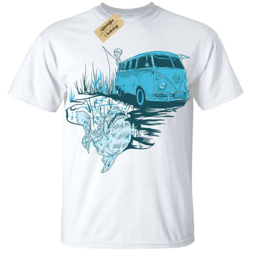 Kids Boys Girls Go fishing T-Shirt bus camper