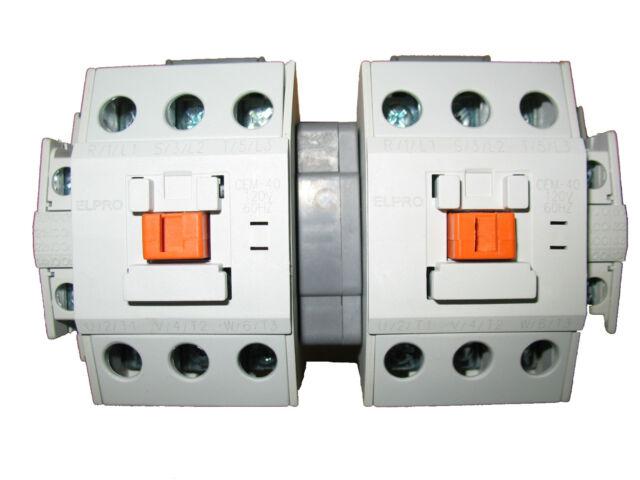 ELPRO CEM-40 Contactor Pair/Set, 3P 40A 120/208V 50-60Hz with interlocking