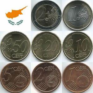 Zypern Euromünzen von 2008 bis 2021, unzirkuliert/bankfrisch