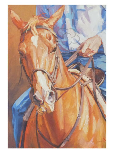 Chestnut horse greeting card by Sima Kokaev