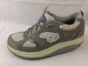 Skechers-11806-Gray-Pink-Silver-Shape-Ups-Walking-Tone-Sneaker-Shoe-Womens-7-5-M