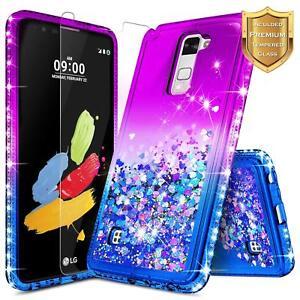 best website 3d55e 38026 Details about LG Stylo 2 LTE / Stylo 2 V Case   Liquid Glitter Bling Cover  + Tempered Glass