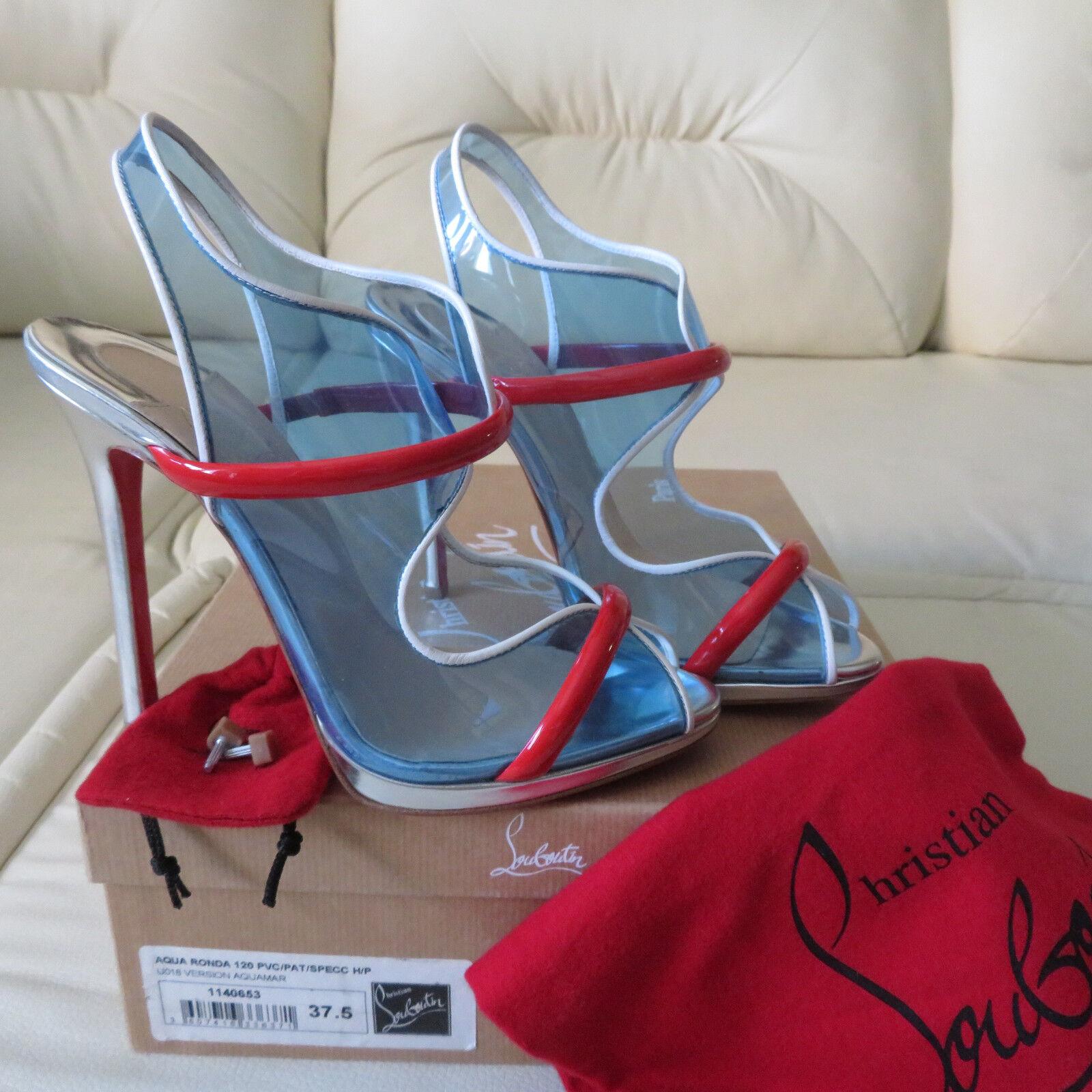CHRISTIAN LOUBOUTIN Aqua Ronda 120 PVC bluee Red Platform Heels Sandals 37.5