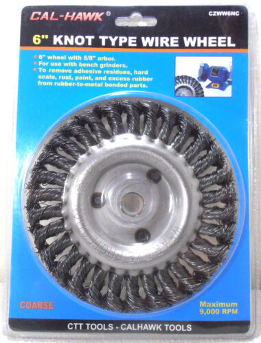 """6/"""" INCH KNOT WIRE WHEEL x 5//8/""""  ARBOR COARSE KNOTTED WIRE WHEEL"""