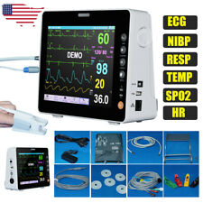 8 Medical Portable Patient Monitor Icu Vital Signs Ecg Nibp Resp Temp Spo2 Hr