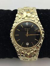 "New Men's Geneve Diamond 10K Solid Yellow Gold Nugget Style 8"" Wrist Round Watch"