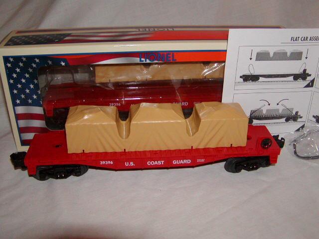 Lionel 6-39396 fatto U.S.A. Coast Guard Guard Guard Flatauto O-27 2013 Armed Forces Collection 659d1c