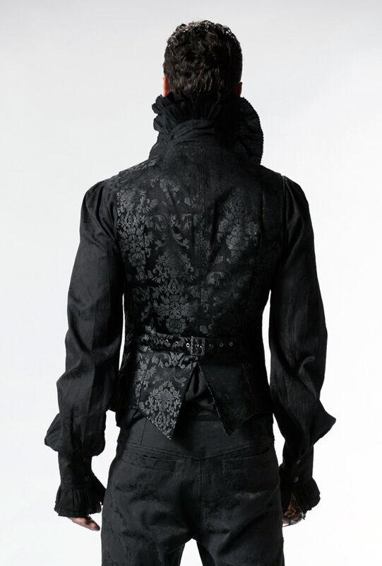 Veste gilet homme gothique baroque dandy satin satin satin broderie burlesque Punkrave N 306018