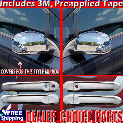 Mirror COVERS For 2012-2014 NISSAN VERSA Chrome Door Handle Covers W//Smart Key