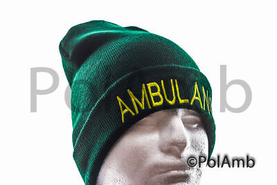 AMBULANCE Beanie for Paramedic St John Medic EMT 999 Nurse GREEN Woolly Hat