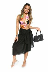 edb4af32be 1 World Sarongs Womens Swimsuit Cover-Up Cotton Sarong in Black with ...
