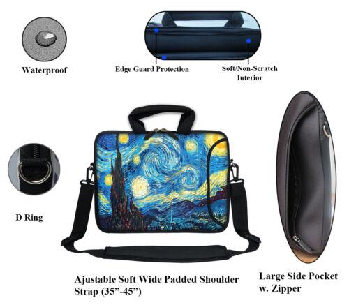 """11.6/"""" 12.3/"""" Neoprene Laptop Bag Case w Side Pocket Shoulder Strap Handle  3009"""