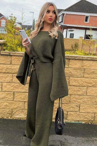 Womens Ladies Slit Jumper Crop Top Tie Wide Leg Trousers Knitted Loungewear Set
