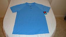 Men's Hanes Comfort Blend Henley Tee Shirt Blue Size Medium NEW W/Tags