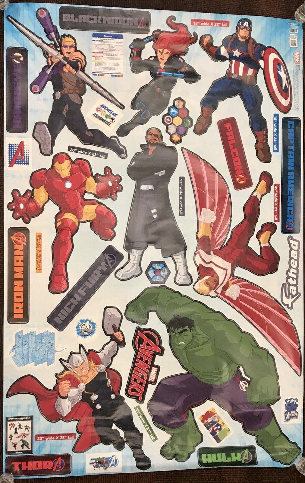 Original FATHEAD Marvel ANIMATED AVENGERS ASSEMBLE Hulk Decal Giant Sticker Set
