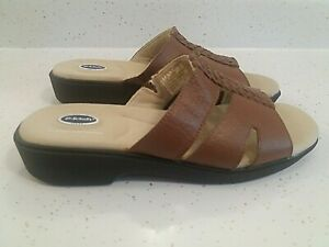 Dr-Scholls-Womens-Size-8-Slip-On-Brown-Leather-Sandals