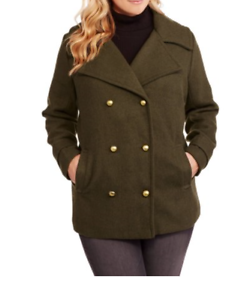 Maxwell Studio Women's Faux Wool Military Peacoat Size M color Green olive