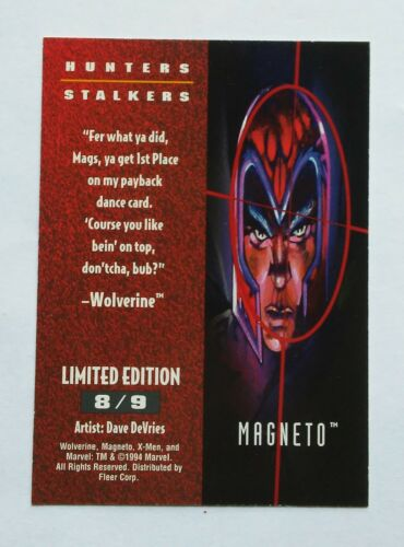 Choice #1,3,4,6 or 8--Fleer Ultra 1994 Chase Card--X Men--Hunters//Stalkers