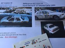 Decal 1 43 FORD SIERRA COSWORTH N°27 Rally WRC MONTE CARLO 1992 montecarlo