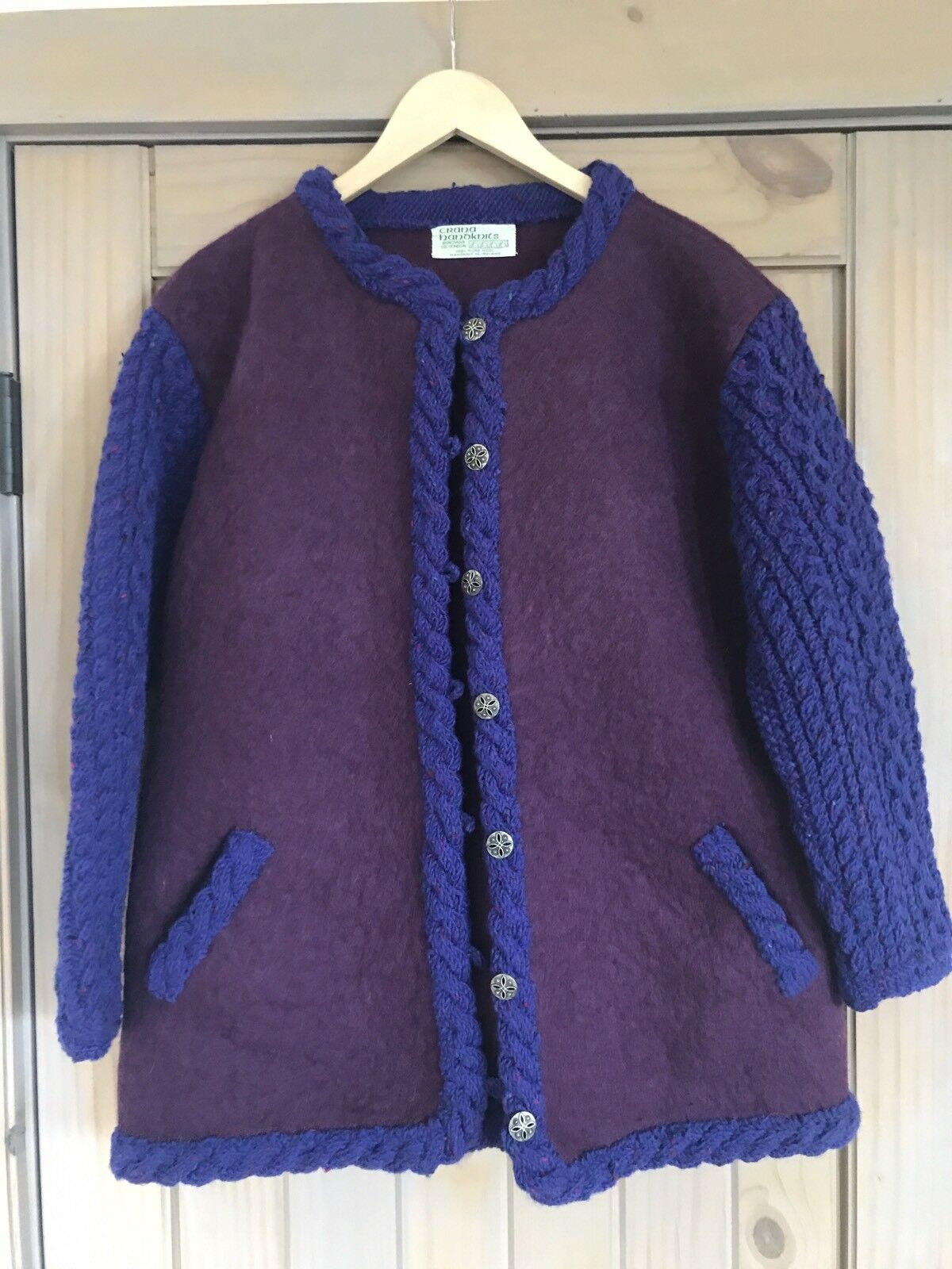 Handknit Wool Sweater Coat Buncrana Donegal Made In Ireland Large XL