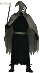 Adult Mens Grim Reaper Costume Black Death Medieval Fancy Dress Robe /& Mask NEW