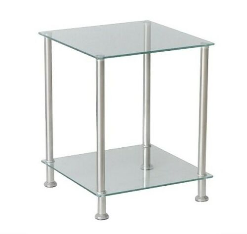 Glass Side Coffee//lamp Table 2 Clear Shelf Chrome Stylish Design Brand New