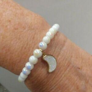 Memory Wire Bracelet Women Child Glass Bead Moon Charm Handmade NEW